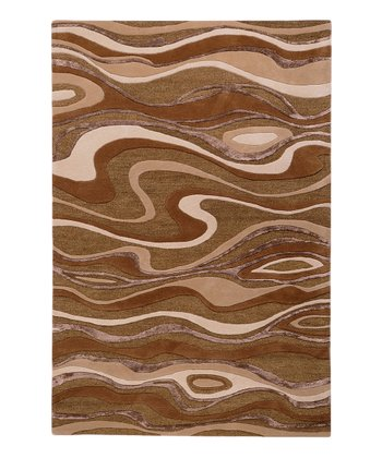 Brown Waves Modern Classics Wool Rug