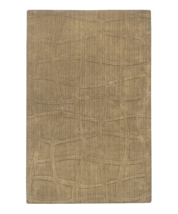 Taupe Angled Grid Sculpture Wool Rug