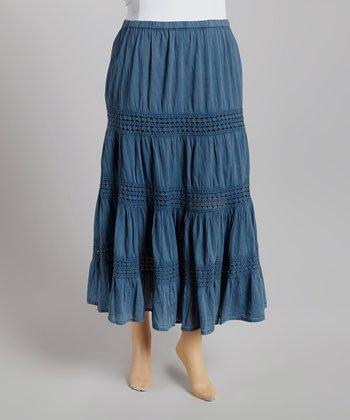 Blue Denim Peasant Skirt - Plus