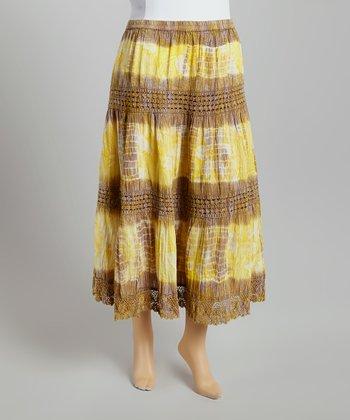 Yellow Tie-Dye Peasant Skirt - Plus