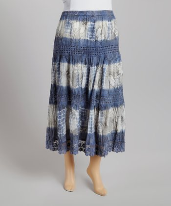 Blue Denim & White Tie-Dye Peasant Skirt - Plus