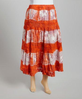 Orange & White Tie-Dye Peasant Skirt - Plus