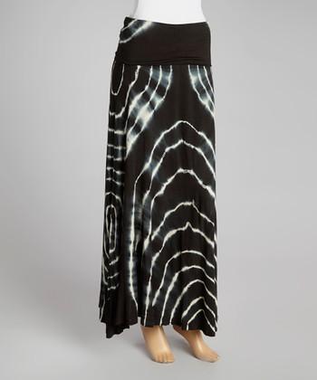 Black & Ivory Tree Rings Maxi Skirt - Women