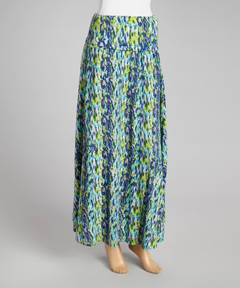 Lime & Turquoise Drizzle Maxi Skirt - Women