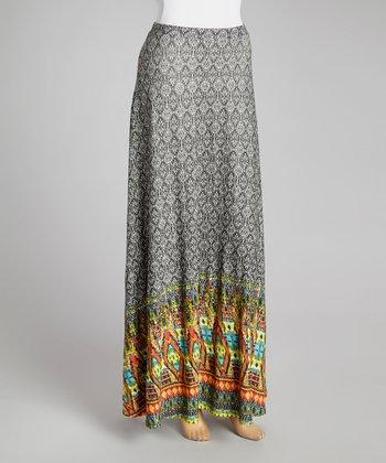 Black & White Geometric Maxi Skirt - Women