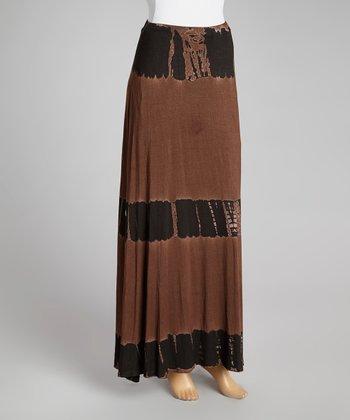 Chocolate & Black Tie-Dye Fossil Maxi Skirt - Women