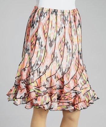 Punch Lime Retro Ikat Ruffle Skirt - Women