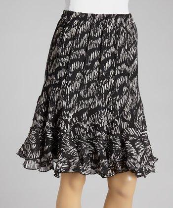 Black & White Broken Stitch Ruffle Skirt