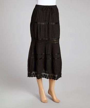 Black Peasant Skirt - Women