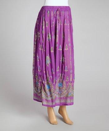 Purple Embellished Peasant Skirt - Women