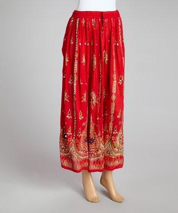 Red Embellished Peasant Skirt - Women