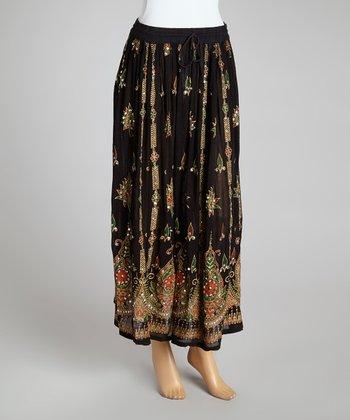 Black Embellished Peasant Skirt - Women