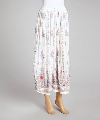 White Embellished Peasant Skirt - Women