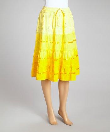 Yellow Ombré Peasant Skirt - Women