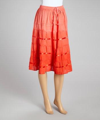 Red Ombré Peasant Skirt - Women