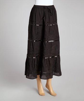 Black Stripe Peasant Skirt - Women