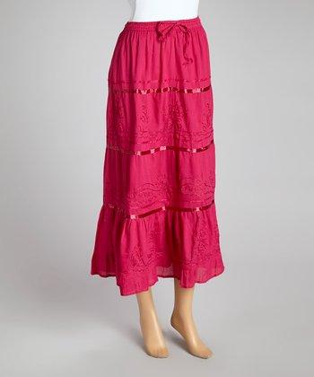 Fuchsia Stripe Peasant Skirt - Women