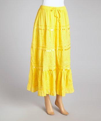 Yellow Stripe Peasant Skirt - Women