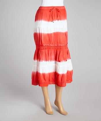 Red Tie-Dye Peasant Skirt - Women