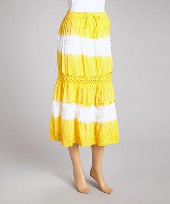 Yellow Tie-Dye Peasant Skirt - Women