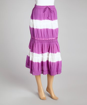 Purple Tie-Dye Peasant Skirt - Women