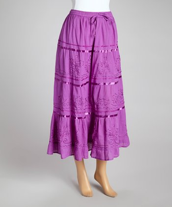 Purple Stripe Peasant Skirt - Women