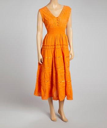 Orange Smocked Empire-Waist Dress - Women