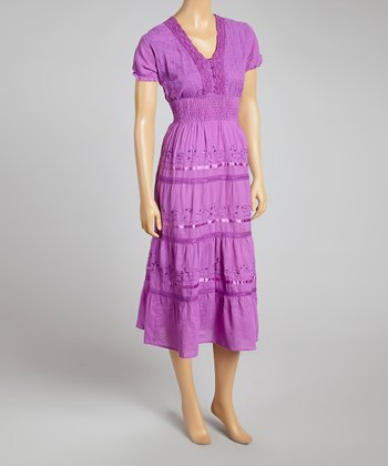 Purple Smocked Empire-Waist Dress - Women