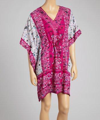 Fuchsia Elephant V-Neck Dress - Women