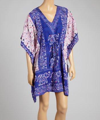 Blue Elephant V-Neck Dress - Women