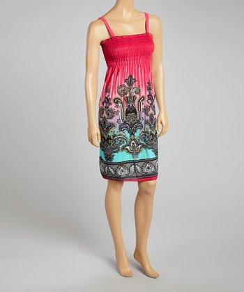 Fuchsia Ornate Smocked Sleeveless Dress - Women