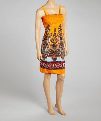 Orange Ornate Smocked Sleeveless Dress - Women