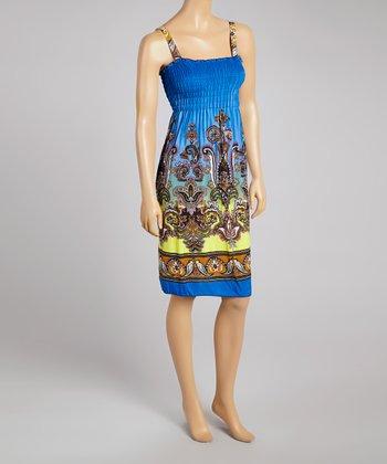 Blue Ornate Smocked Sleeveless Dress - Women