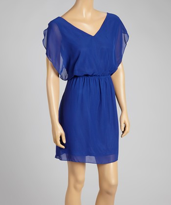 Royal Blue V-Neck Dress - Women