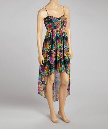 Black Floral Hi-Low Dress - Women