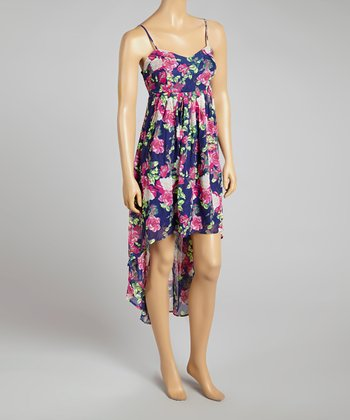 Blue Floral Hi-Low Dress - Women