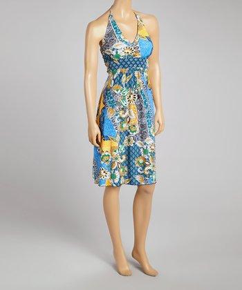 Orange Floral Halter Dress - Women