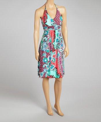 Fuchsia Floral Halter Dress - Women