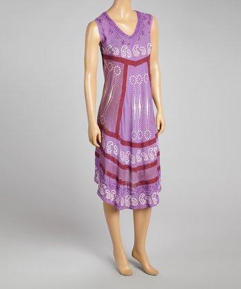 Purple Paisley Sleeveless Dress - Women