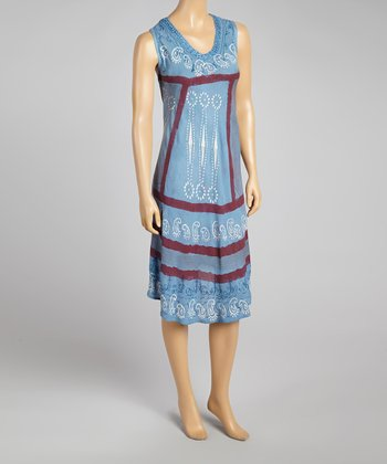 Blue Paisley Sleeveless Dress - Women