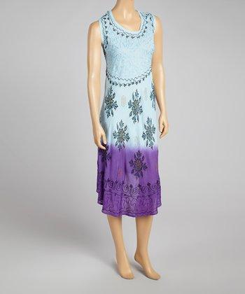 Blue & Purple Sleeveless Dress - Women