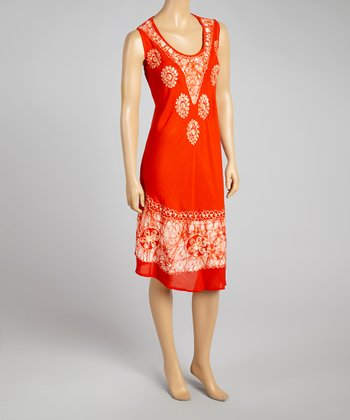 Orange Floral Sleeveless Dress - Women