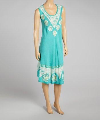 Green Floral Sleeveless Dress - Women