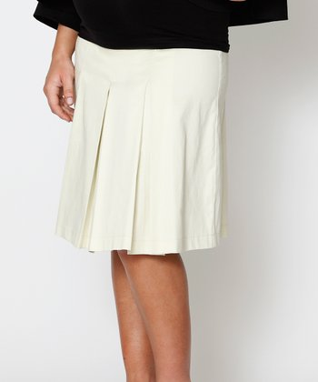 Pumice Over-Belly Maternity Pleated Skirt