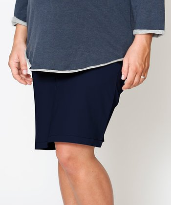 Dark Wash Denim Essential Under-Belly Maternity Skirt