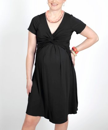 Black Twist Milkbar Maternity & Nursing Dress