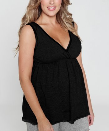 Black Maternity & Nursing Pajama Set - Women