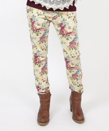 Cream & Pink Floral Over-Belly Maternity Skinny Jeans