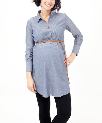 Chambray Tux Maternity Tunic