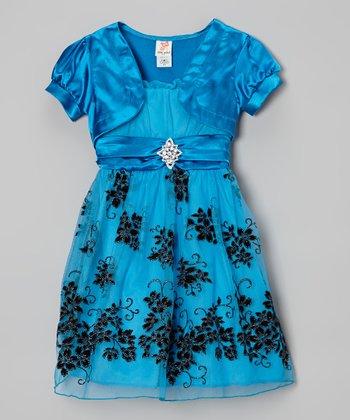 Turquoise Shrug & Floral A-Line Dress - Toddler & Girls
